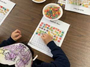 100th day of school- 100 Day Chart with Fruit Loops counters